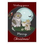 Tarjeta de Navidad de la narración del búho de la