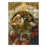 Tarjeta de Navidad de la natividad del Victorian