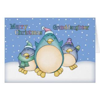 Tarjeta de Navidad de la nieta con los pingüinos