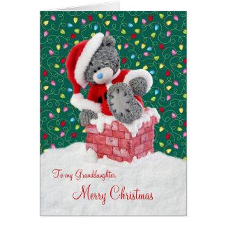 Tarjeta de Navidad de la nieta del oso de peluche