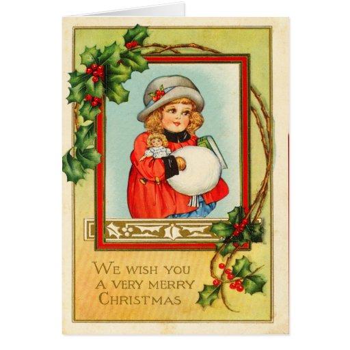 Tarjeta de Navidad de la niña del Victorian
