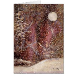 Tarjeta de Navidad de la noche del invierno Nevado
