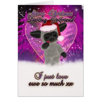 Tarjeta de Navidad de la novia - ovejas y corazón