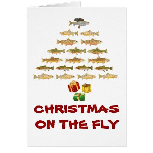 Tarjeta de Navidad de la pesca con mosca de Montan