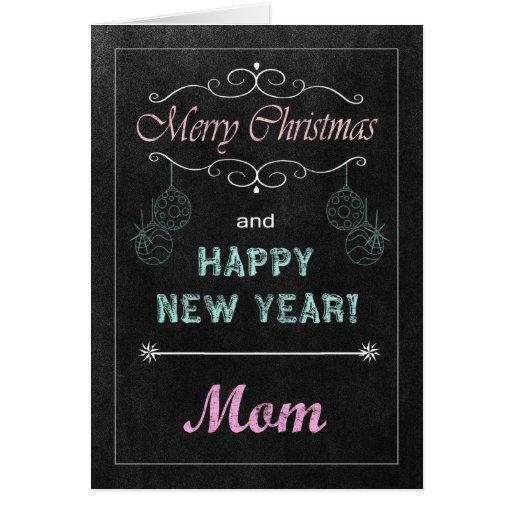 Tarjeta de Navidad de la pizarra de la mamá