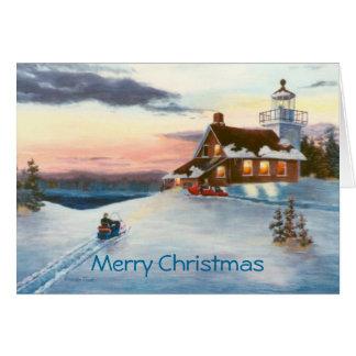 Tarjeta de Navidad de la puesta del sol de la estr