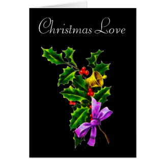 Tarjeta de Navidad de la rama del acebo del amor