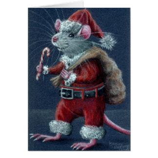 Tarjeta de Navidad de la rata de Santa