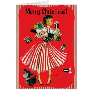 Tarjeta de Navidad de la señora de las compras del