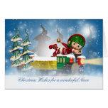 Tarjeta de Navidad de la sobrina con el duende lin