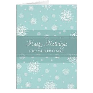 Tarjeta de Navidad de la sobrina de la nieve del t