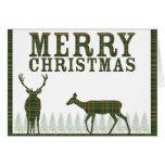 Tarjeta de Navidad de la tela escocesa del árbol d