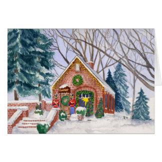 Tarjeta de Navidad de la tienda del chocolate de P