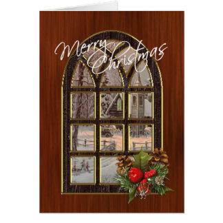 Tarjeta de Navidad de la ventana del paisaje del i