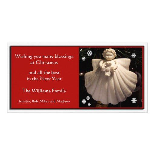 Tarjeta de Navidad de las bendiciones del ángel de Tarjeta Personal Con Foto