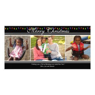 Tarjeta de Navidad de las luces de navidad 3-Photo Tarjetas Fotograficas
