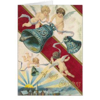 tarjeta de Navidad de las querubes y de las campan