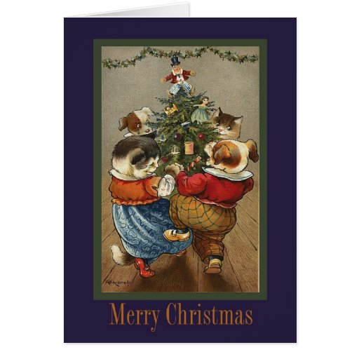 Tarjeta de Navidad de los animales del baile del v