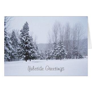 Tarjeta de Navidad de los árboles de la nieve