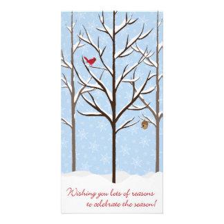 Tarjeta de Navidad de los árboles Nevado Tarjeta Con Foto Personalizada