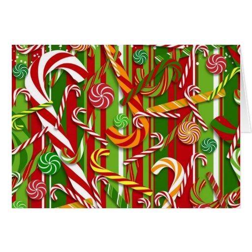 Tarjeta de Navidad de los bastones de caramelo