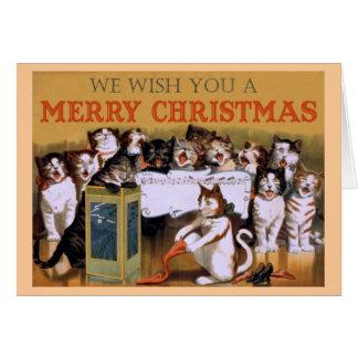 Tarjeta de Navidad de los Carolers del gato