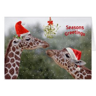 Tarjeta de Navidad de los momentos del muérdago