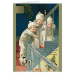 Tarjeta de Navidad de los niños del vintage