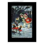 Tarjeta de Navidad de los niños del vintage y de