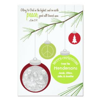 Tarjeta de Navidad de los ornamentos y de la foto Invitacion Personalizada