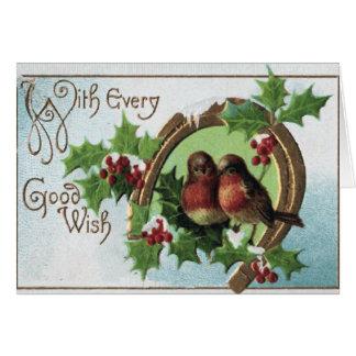 Tarjeta de Navidad de los pájaros