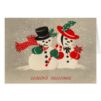 Tarjeta de Navidad de los pares de la nieve del vi