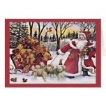 Tarjeta de Navidad de los perritos del golden retr