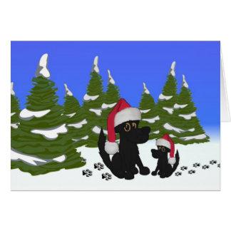 Tarjeta de Navidad de los perros negros