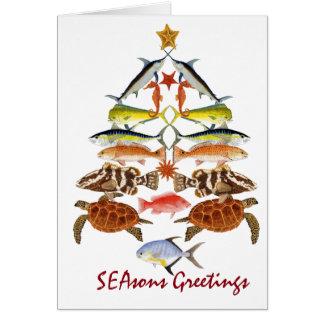 Tarjeta de Navidad de los pescados del océano de