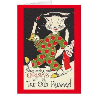 Tarjeta de Navidad de los pijamas del gato del