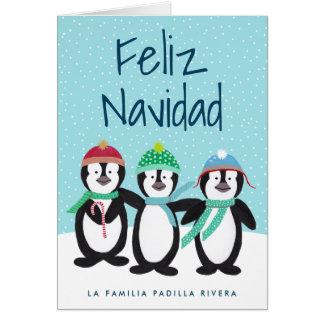 Tarjeta de Navidad de Los Pingüinos Card