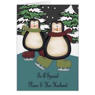 Tarjeta de Navidad de los pingüinos de la sobrina