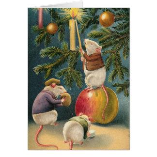Tarjeta de Navidad de los ratones del Victorian