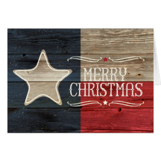 Tarjeta de Navidad de madera apenada de la bandera
