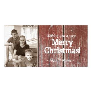 Tarjeta de Navidad de madera de la foto del graner Tarjetas Fotográficas
