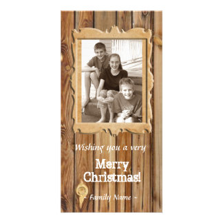 Tarjeta de Navidad de madera de la foto del marco Plantilla Para Tarjeta De Foto