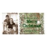Tarjeta de Navidad de madera de la foto del vintag Tarjetas Con Fotos Personalizadas