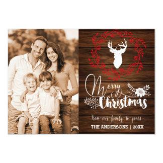 """Tarjeta de Navidad de madera de las Felices Invitación 5"""" X 7"""""""