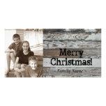 Tarjeta de Navidad de madera vieja de la foto Tarjetas Fotograficas