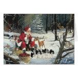 Tarjeta de Navidad de maderas de Santa de los perr