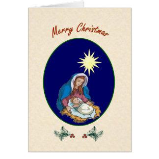Tarjeta de Navidad de Maria y de Jesús