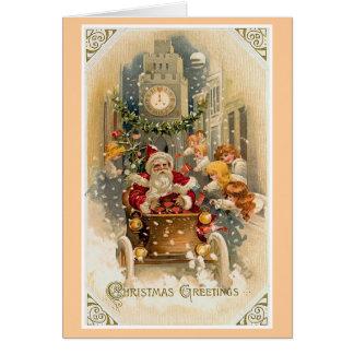 Tarjeta de Navidad de medianoche del vintage de la