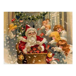 Tarjeta de Navidad de medianoche del vintage de la Postales