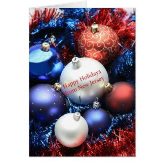 Tarjeta de Navidad de New Jersey con los ornamento